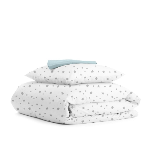 Комплект подросткового постельного белья STAR GREY LIGHT BLUE