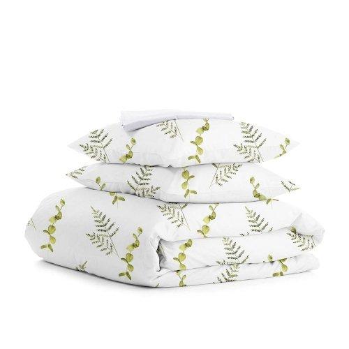 Комплект двуспального постельного белья FOLIAGE GREEN WHITE