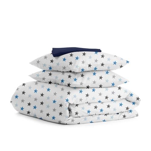 Комплект двуспального постельного белья STAR GREY BLUE DARK BLUE