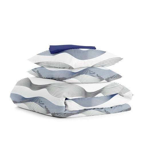 Комплект евро взрослого постельного белья WAVE BLUE GREY DARK BLUE