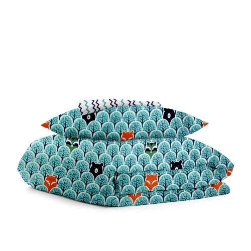 Комплект подросткового постельного белья BEAR WOOD /зигзаг сине-голубой/