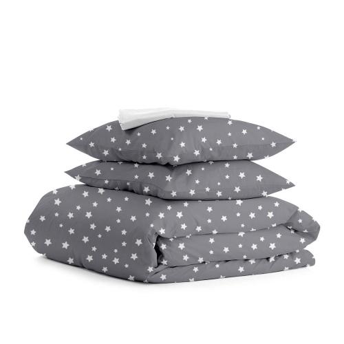 Комплект полуторного постельного белья STARS WHITE GREY