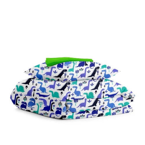 Комплект подросткового постельного белья DINO BLUE /оборот зеленый горох/