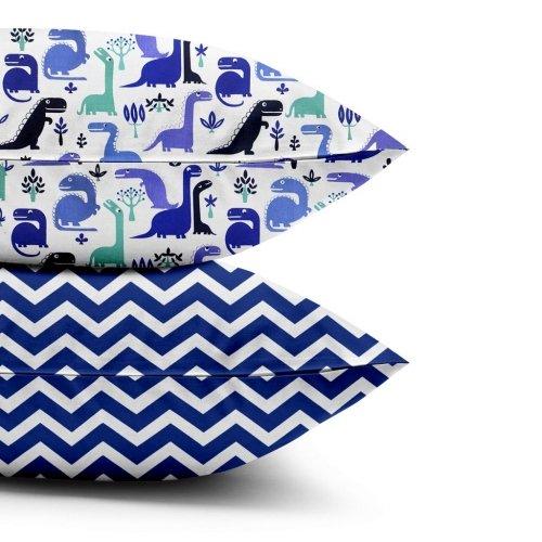 Наволочки набор DINO BLUE / ZIGZAG BLUE
