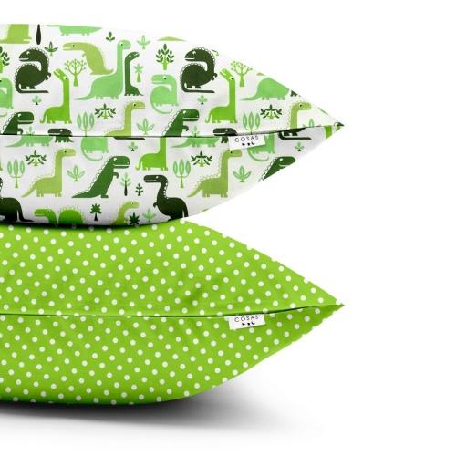 Наволочки набор DINO GREEN / DOTS GREEN