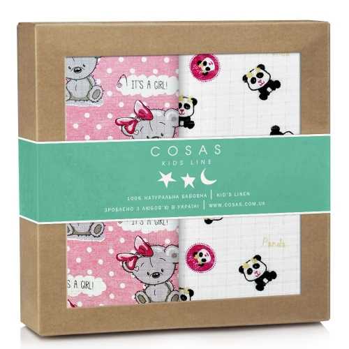 Набор пеленок муслин GIRL BEAR PANDA