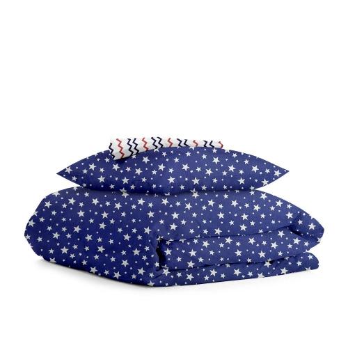 Комплект полуторного постельного белья STARFALL BLUE /зигзаг сине-красный/