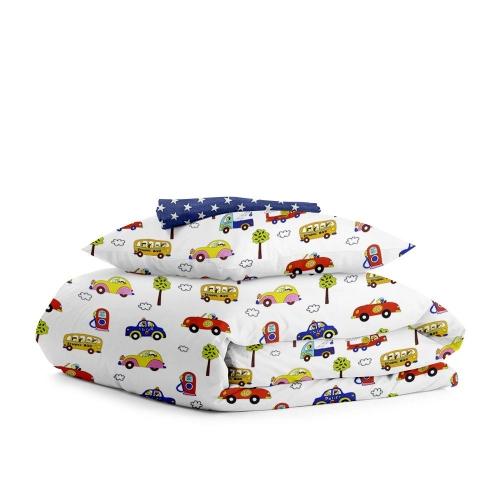 Комплект подросткового постельного белья CARS /звезды на синем/