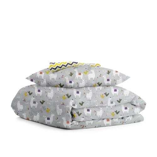 Комплект подросткового постельного белья CAMEL /зигзаг серо-желтый/
