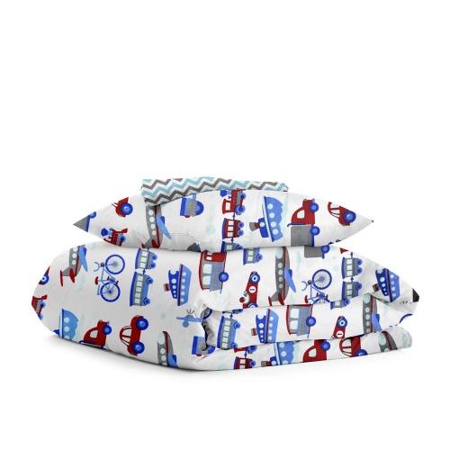 Комплект детского постельного белья TRANSPORT /зигзаг серо-голубой/