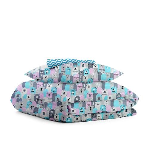 Комплект подросткового постельного белья BEAR HERD /зигзаг голубой/