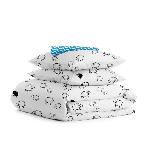 Комплект полуторного постельного белья SHEEP /зигзаг голубой/
