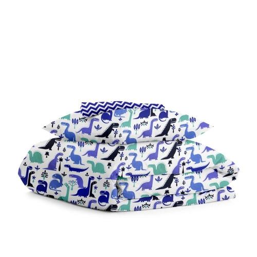 Комплект подросткового постельного белья DINO /синий зигзаг/