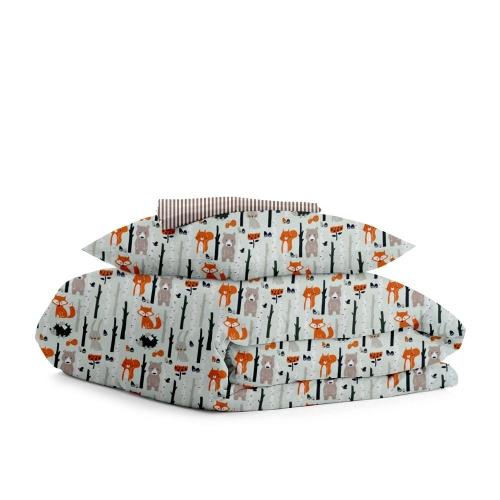 Комплект подросткового постельного белья WOOD /полоса бежевая/