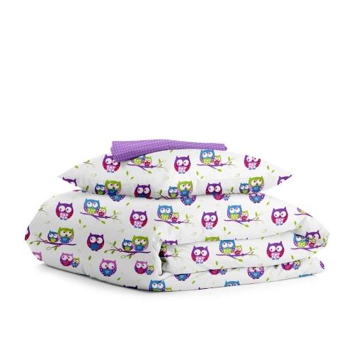 Комплект подросткового постельного белья OWLS /фиолет горох/