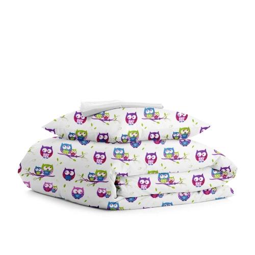 Комплект подросткового постельного белья OWLS /белый/