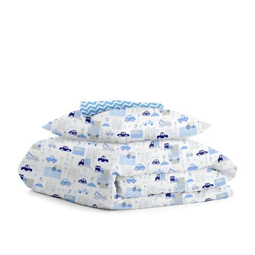 Комплект подросткового постельного белья CITY CARS BLUE /зигзаг голубой/