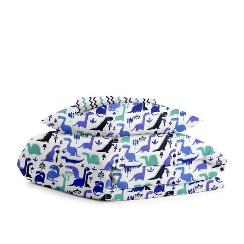 Комплект подросткового постельного белья DINO /зигзаг сине-голубой/