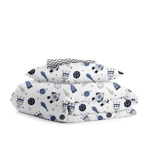 Комплект детского постельного белья SPACE WHITE /зигзаг серый/