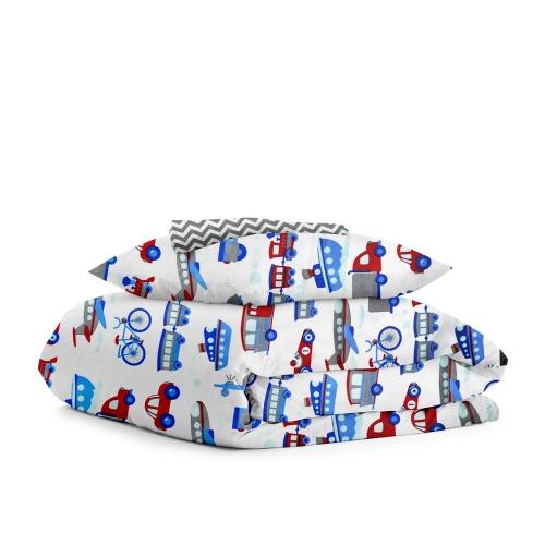 Комплект детского постельного белья TRANSPORT /зигзаг серый/