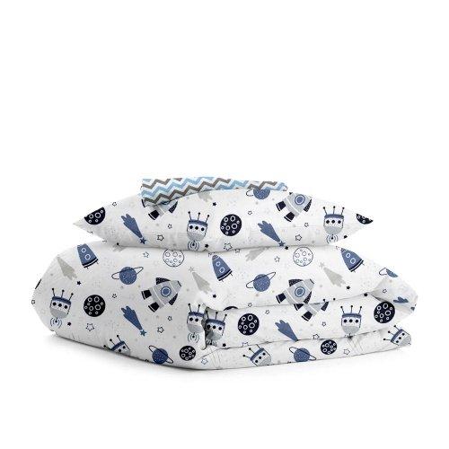 Комплект детского постельного белья SPACE WHITE /зигзаг серо-голубой/
