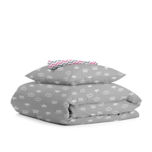 Комплект детского постельного белья CROWN GREY /зигзаг серо-розовый/