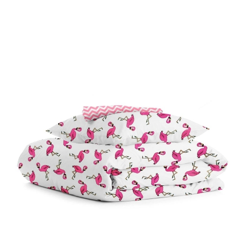 Комплект полуторного постельного белья FLAMINGO /зигзаг розовый/