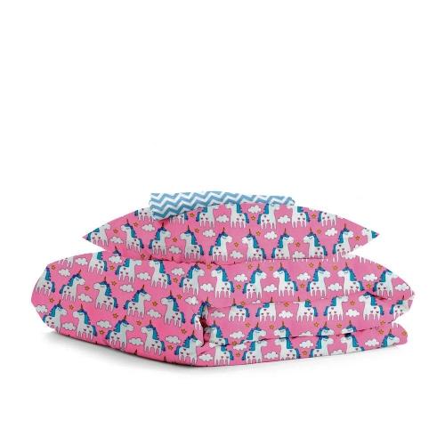Комплект подросткового постельного белья UNICORN ROSE /зигзаг голубой/