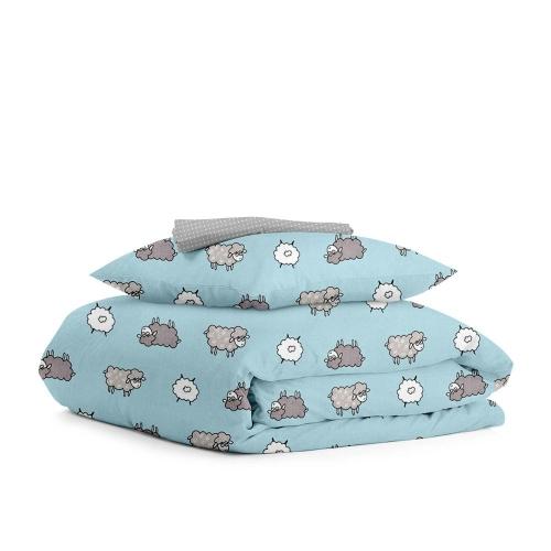 Комплект детского постельного белья SHEEP BLUE /серый в горох/