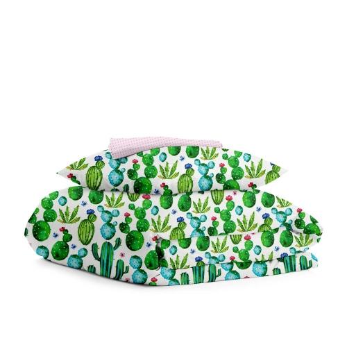 Комплект детского постельного белья CACTUS BLOOM /горох малиновый на розовом/