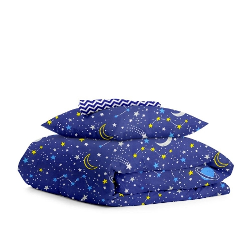 Комплект детского постельного белья GALAXY /зигзаг синий/