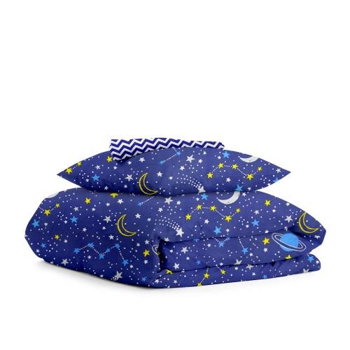 Комплект подросткового постельного белья GALAXY /зигзаг синий/