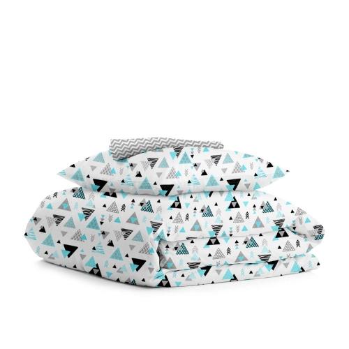 Комплект подросткового постельного белья TRIO BLUE /зигзаг серый мелкий/