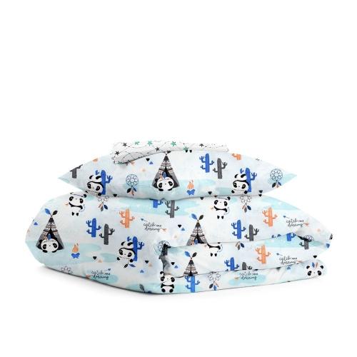 Комплект детского постельного белья PANDA INDI /мятно-серые звезды/