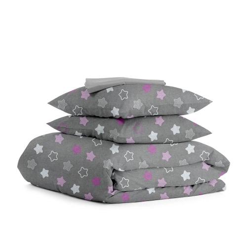 Комплект семейного постельного белья STARS PINK ZIGZAG