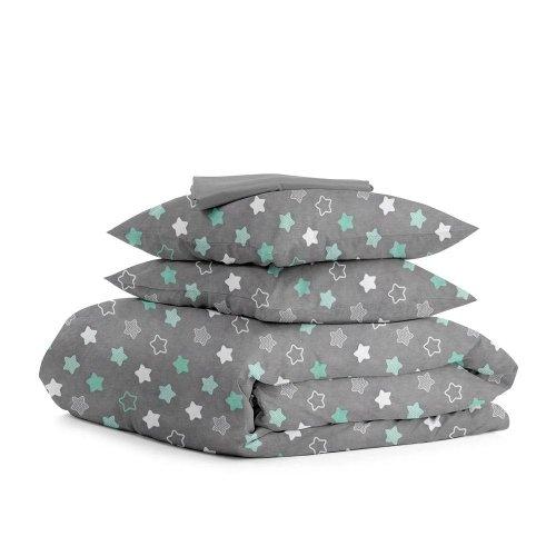 Комплект семейного постельного белья STARS MINT ZIGZAG