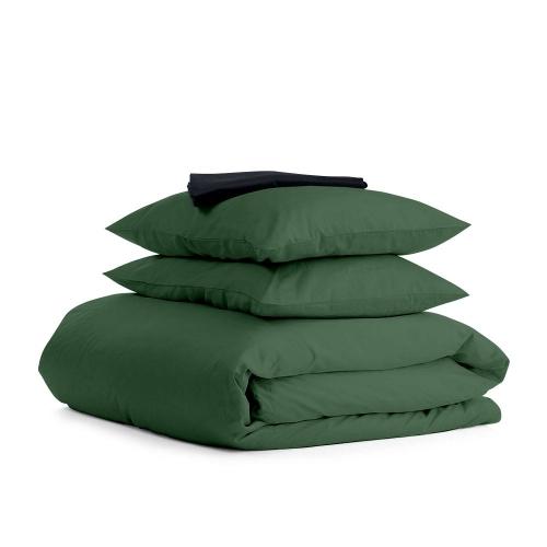 Комплект евро взрослого постельного белья сатин GREEN BLAC-S