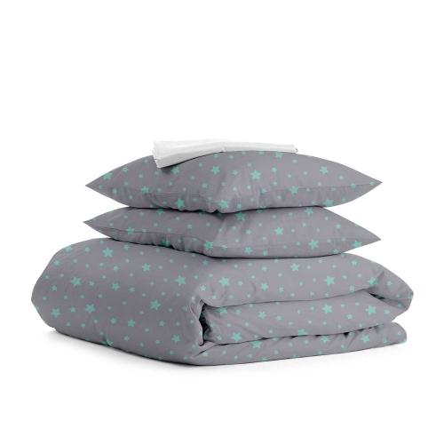 Комплект полуторного постельного белья STAR MINT GREY WHITE