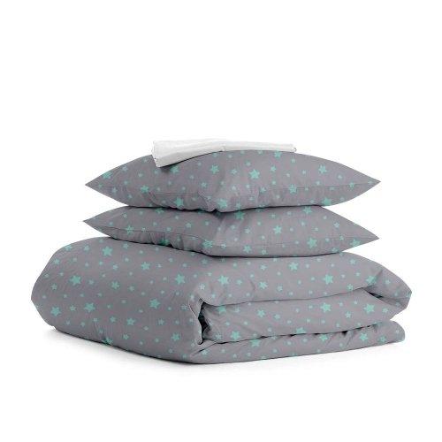 Комплект семейного постельного белья STAR MINT GREY WHITE