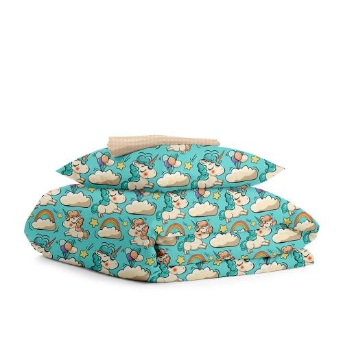 Комплект подросткового постельного белья UNICORN /горох на бежевом/