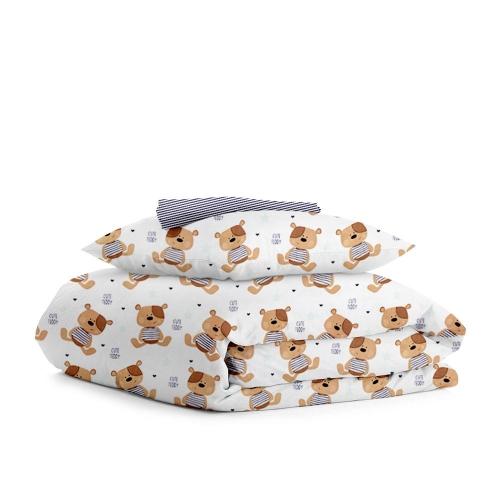 Комплект подросткового постельного белья BEAR /полоса синяя/