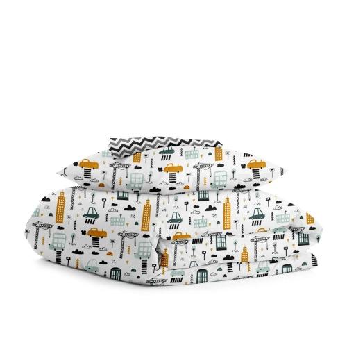 Комплект подросткового постельного белья BUILDING /зигзаг черно-серый/