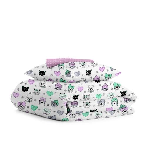 Комплект детского постельного белья PUPPY KITTEN /горох на розовом/