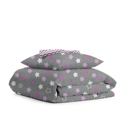 Комплект подросткового постельного белья STARS PINK /зигзаг серо-розовый/