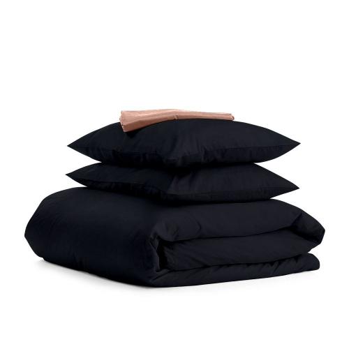 Комплект семейного постельного белья сатин BLACK BEIGE-S