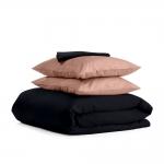Комплект евро взрослого постельного белья сатин BLACK BEIGE-P