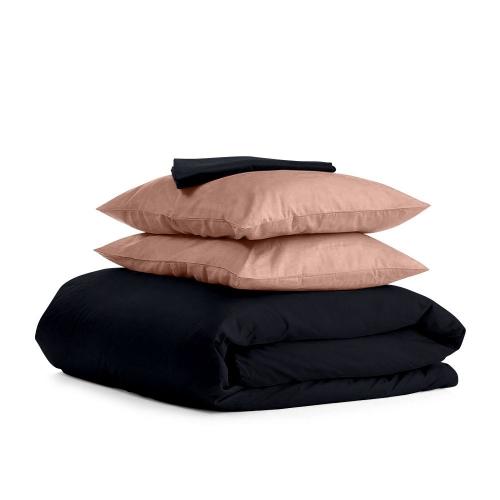 Комплект семейного постельного белья сатин BLACK BEIGE-P