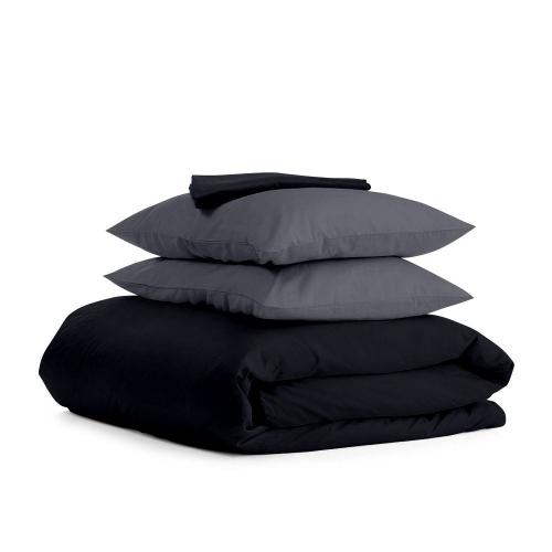 Комплект евро взрослого постельного белья сатин BLACK GREY-P