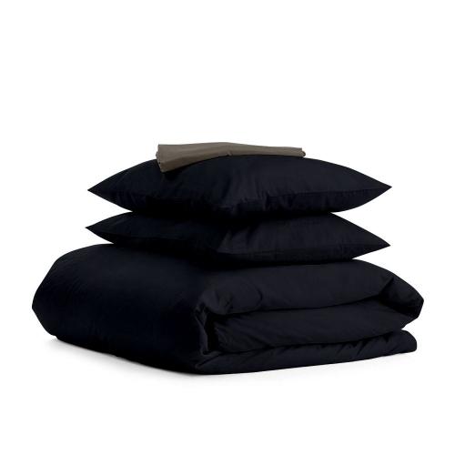 Комплект семейного постельного белья сатин BLACK GREY-S