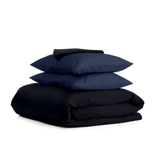Комплект семейного постельного белья сатин BLACK BLUE-P